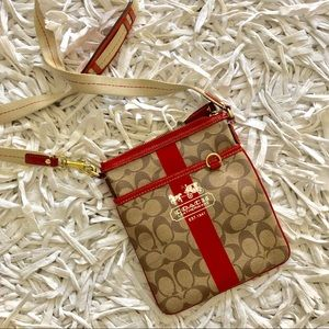 Authentic Coach Red Crossbody Messenger Bag
